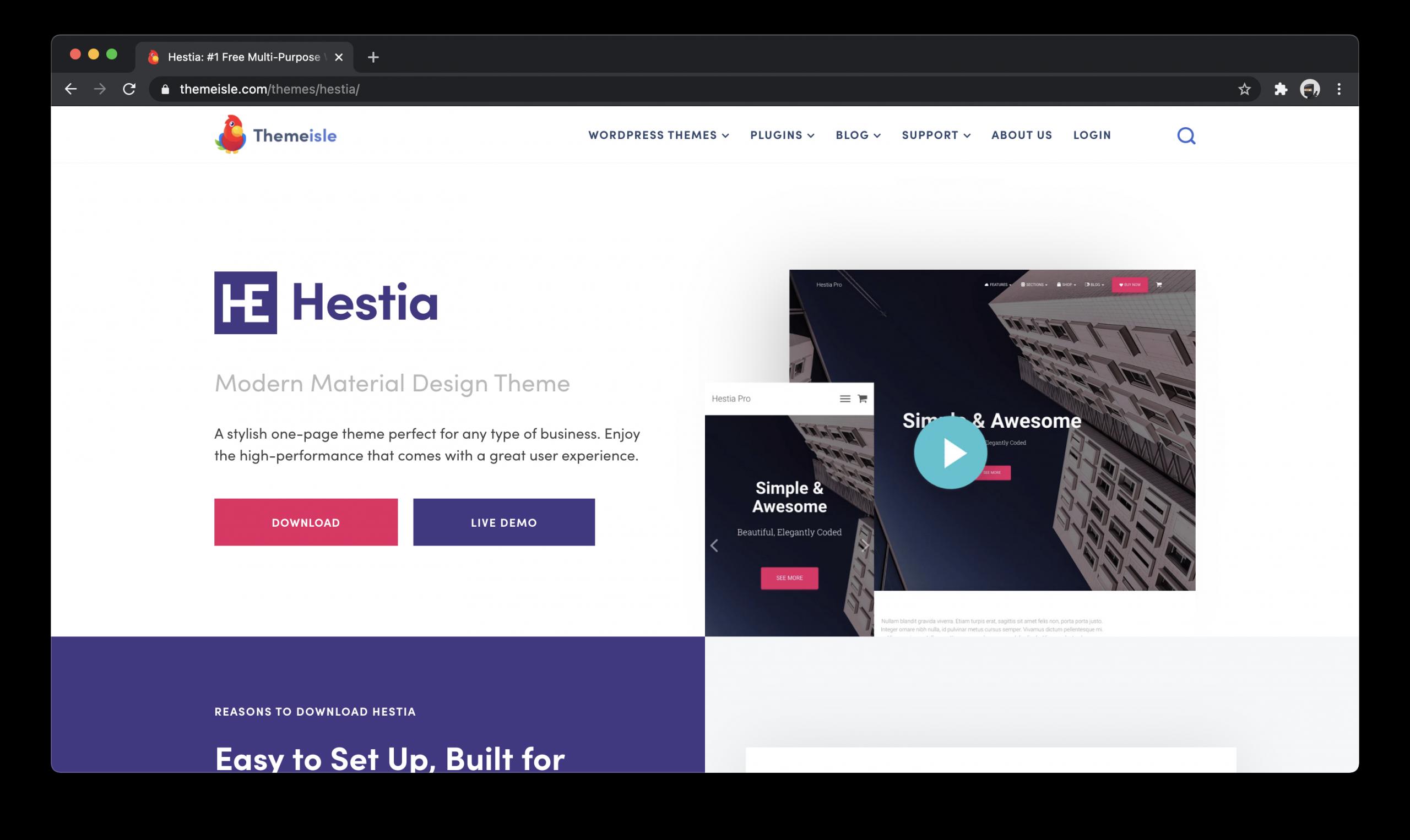 Hestia Free WordPress Theme