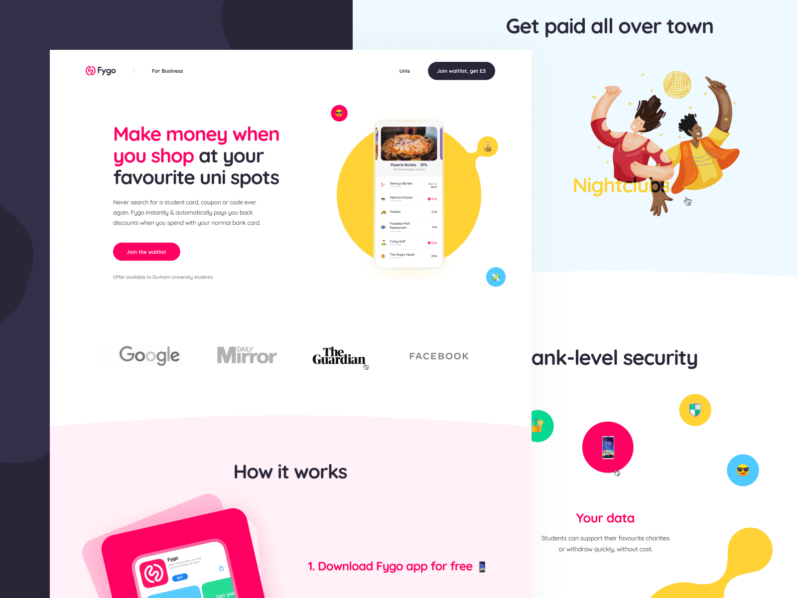 Fygo Landing Page by Cuberto via Dribbble | Informative headline and subheading, clean call-to-action button.