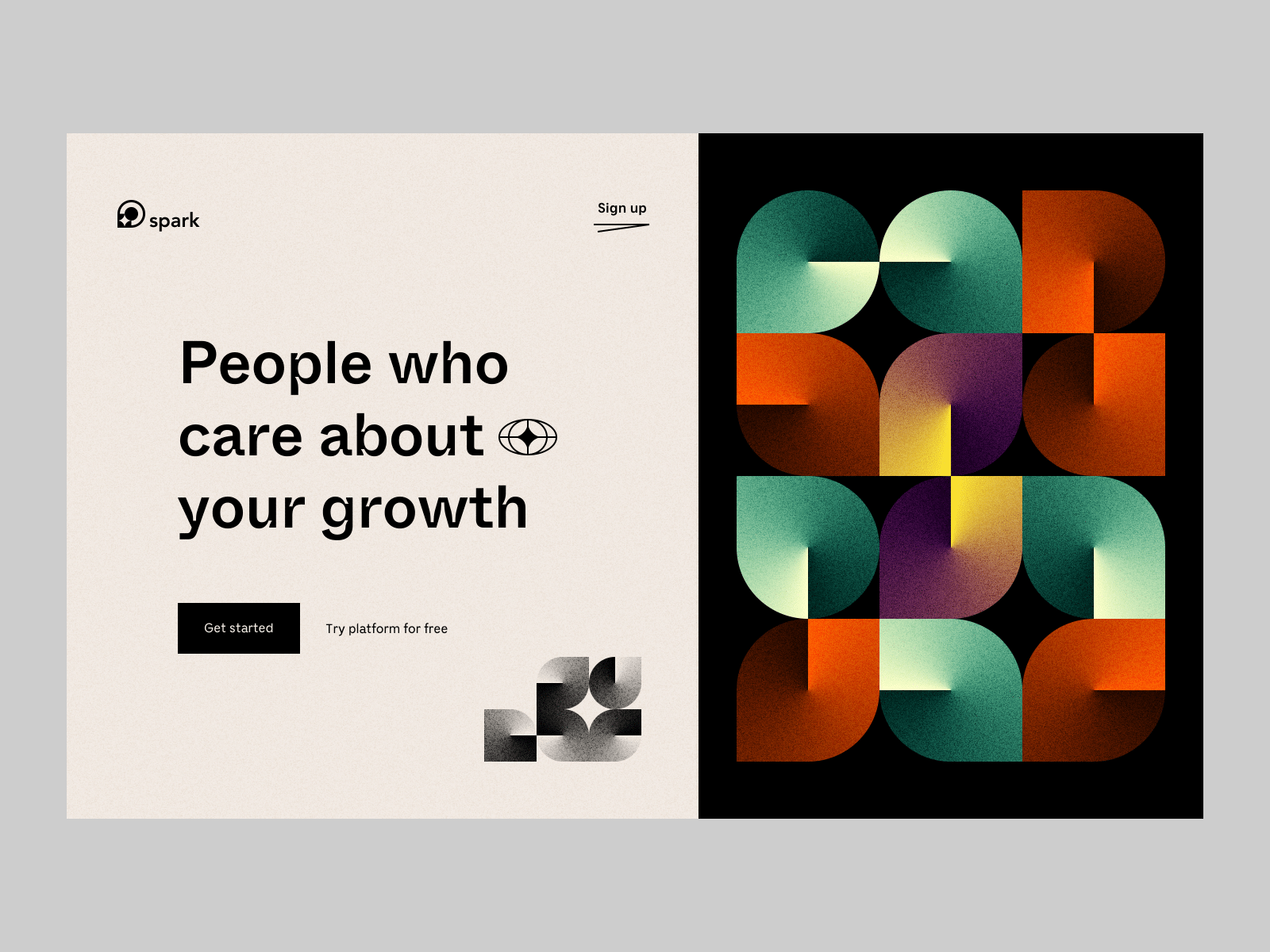 Spark Landing Page by Vladimir Gruev via Dribbble | Two descriptive CTAs, that clarify which is for what.